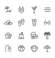 beach summer icons set on white background vector image vector image