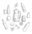 Beverages and drinks sketches composition vector image