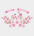 bike and cherry blossom embroidery pattern vector image