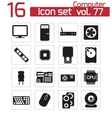 black PC components icons set vector image vector image