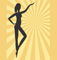 Black woman silhouette on yellow rays background vector image