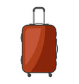 brown plastic suitcase with wheels vector image