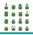 cactus color icon set vector image vector image