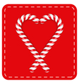 candy canes heart vector image vector image