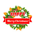 christmas greeting ribbon decoration icon vector image