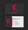 clean dark business card with letter K vector image vector image