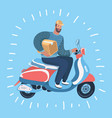 courier man send order with motorbike delivery vector image