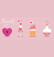 cup champagne with set icons for san valentines vector image vector image