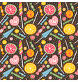 Cute seamless pattern with lollipops and candies vector image