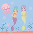 cute sirens with octopus and starfish vector image