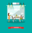 dinner concept in flat style vector image vector image