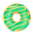 donut with green glaze sugar frosting pastry vector image vector image