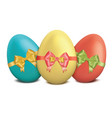 easter eggs with bows and ribbons on white vector image