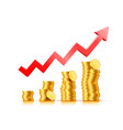 finance growth chart arrow with gold coins vector image vector image