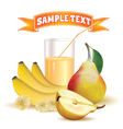 glass with juice bananas and pear vector image vector image