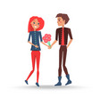 guy presents beautiful bouquet to his girlfriend vector image vector image