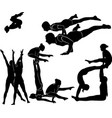 Gymnasts acrobats black silhouette