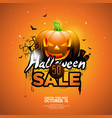 hallowen sale with pumpkin cemetery and bats on vector image vector image