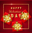 happy valentines day golden glitter sparkle red vector image vector image