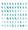 isometric font alphabet isolated on background vector image