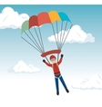man parachute extreme sport design vector image vector image