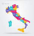 map italy with regions and name labels vector image