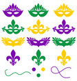 mardi gras set of objects on a white background vector image vector image