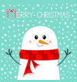 merry christmas candy cane snowman wearing red vector image vector image