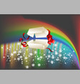 opened gift and rainbow vector image vector image
