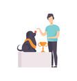 owner presenting his purebred champion dog at pet vector image