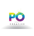 po p o colorful letter origami triangles design vector image vector image