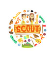 scout banner template with camping and hiking vector image vector image