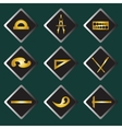 Set gold icons of drawing accessories vector image