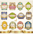 set of various gold-framed colorful labels vector image vector image