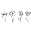 set one line drawing abstract flowers hand vector image