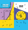 shopping online pop art set icons vector image vector image
