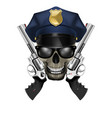 skull with sunglasses in a police cap and revolver vector image vector image