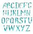 turquoise letters of english alphabet vector image