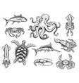 underwater world icons animals and fishes vector image vector image