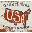 Vintage label of USA map vector image vector image