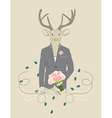 Vintage of a deer in a suit vector image vector image
