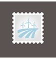 Windmill on the field stamp Outline vector image