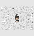 witch cute and black cat ride on the swinging vector image vector image