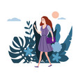 young girl in lilac dress goes about his business vector image vector image
