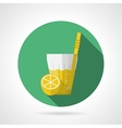Flat color icon for glass of lemonade vector image