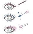 cartoon eye makeup eyeliner mascara eye shadow vector image