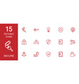 15 secure icons vector image vector image