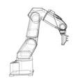3d outline robotic arm rendering of