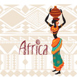 african woman in ethnic dress on ornament vector image vector image