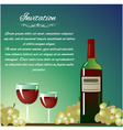 Background with bottle of wine and grapes for invi vector image